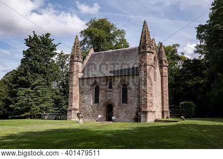 Perth, Scotland - August 12, 2019: Scone Palace Chapel, Old Brick Building In Perthshire, Scotland A