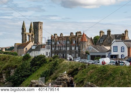 Saint Andrews, Scotland - August 12, 2019: Cityscape Of Saint Andrews City With St Rules Tower, Ruin
