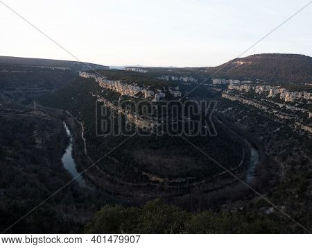Aerial Panorama Of Horsehoe Bend Canyon Canion Canon Del Ebro River Valley Between Valdelateja And C