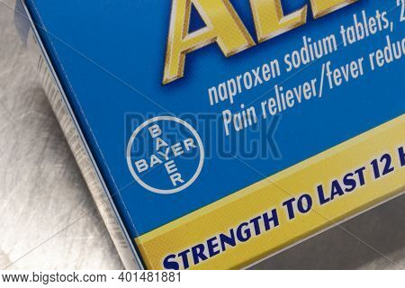 Indianapolis - Circa December 2020: Bayer Aleve. Bayer Manufactures Lines Of Pain Relieving Anti-inf