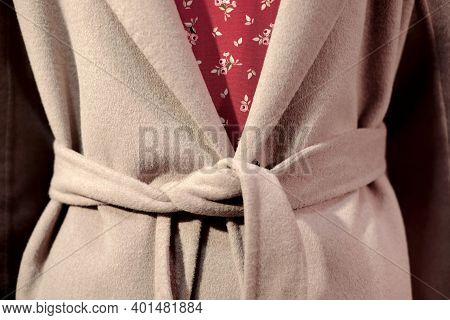 Close-up Fashion Image Of Woman Wearing Beige Coat And Bordo Dress, Fashion Outfit, Details
