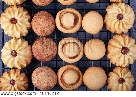 Shortbread Cookie Assortment On The Pastry Lattice On The Gray Wooden Table. Top View