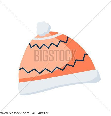 Cozy Winter Hat For Comfort And Warmth Flat Recolor Vector Illustration