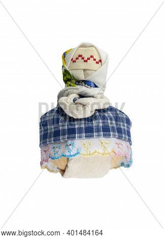 Traditional Russian Doll Made Of Fabric. A Doll In A Blue Dress. Home Crafts.