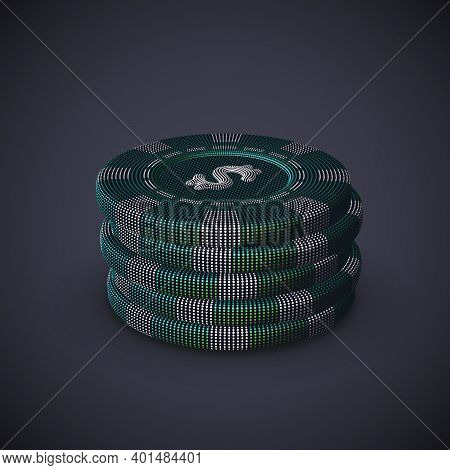 Digital 3d Poker Chips Stack On Gray Background. Online Gambling And Virtual Casino Games. Stock Exc