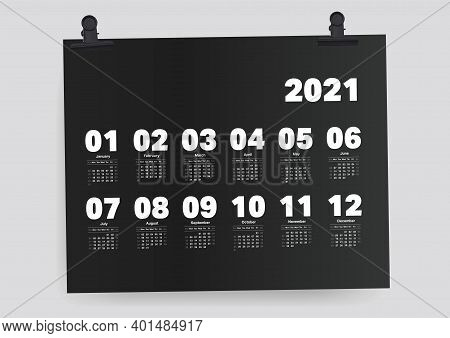 Calendar 2021 Weekend Planner Template From Sunday To Saturday Black Background.