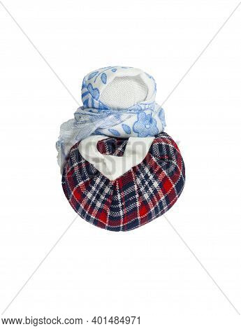 A Doll In A Blue Scarf. Traditional Russian Doll Made Of Fabric. Home Crafts.