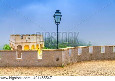 Sintra, Portugal, June 14, 2017: Iron Vintage Lantern Lamp And Merlons On Tower Of Pena Palace Castl