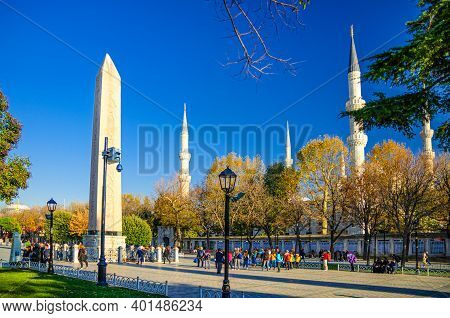 Istanbul, Turkey, November 25, 2017: Sultan Ahmed Mosque Blue Mosque With Minarets, Obelisk Of Theod