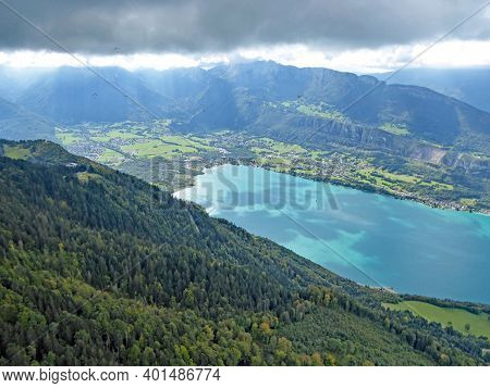 Aerial View Of Lake Annecy In The French Alps