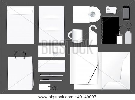 Blank stationery design set in editable vector format