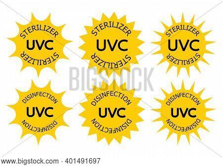 Uv-c Sterilizer And Disinfection Stamp. Sanitation Device Information Sign. Uv Radiation, Solar Ultr