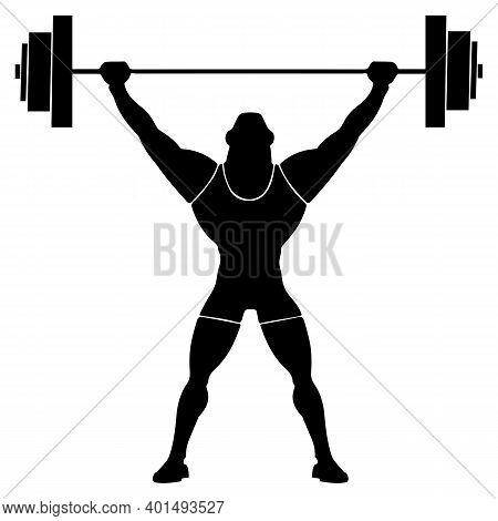 Weightlifter Weight Lifter With A Raised And Fixed Weight. Barbell In The Hands.