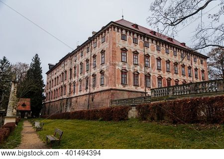Castle Libochovice With French Style Park And Garden, Romantic Baroque Chateau In Winter Day, Litome