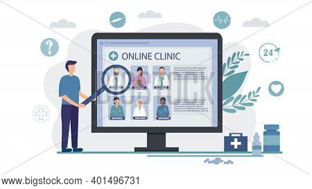 Choosing A Doctor Online. Telemedicine, Remote Medical Services. Search For A Specialist For Medical