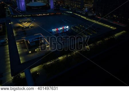Toronto - October 27:  An Aerial Night Time View Across Nathan Phillips Square In Toronto, Canada On