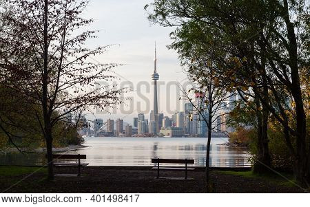 Toronto - October 27: The View From Wards Island Towards The Cn Tower In Toronto, Canada On October