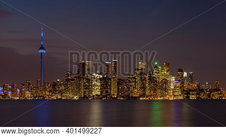 Toronto - October 27:  The View Across Lake Ontario Looking Towards The Toronto Skyline At Dusk On O