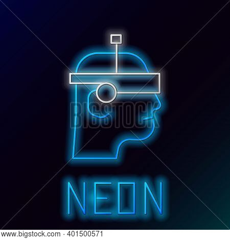 Glowing Neon Line Smart Glasses Mounted On Spectacles Icon Isolated On Black Background. Wearable El