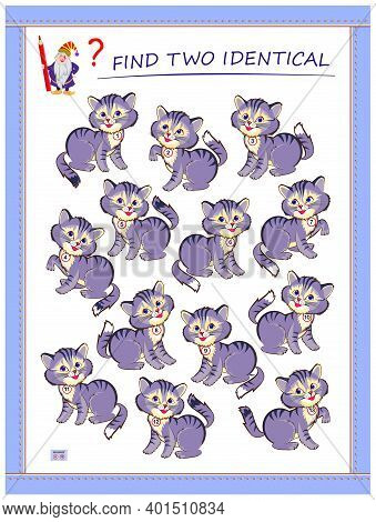 Logic Puzzle Game For Children And Adults. Find Two Identical Kittens. Printable Page For Kids Brain