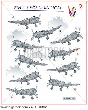 Logic Puzzle Game For Children And Adults. Find Two Identical Airplanes. Printable Page For Kids Bra