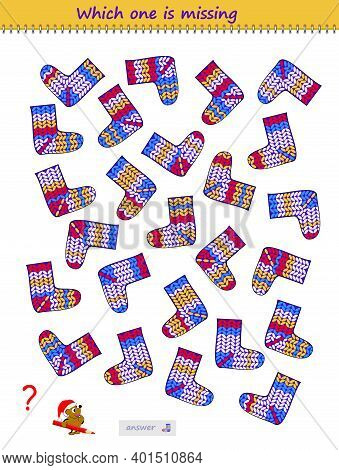 Logic Puzzle Game For Children And Adults. Find The Pair For Each Sock. Which Is The Only One? Print