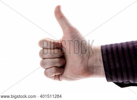 Human Hand Shows Like Sign On A White Background
