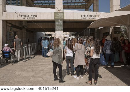 People Entering The Western 'wailing' Wall Of Ancient Temple In Jerusalem. The Wall Is The Most Sacr