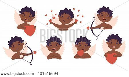 Amur African American Baby Angel Set. Cute Funny Cupid Little God Eros Greece Kids In Different Pose