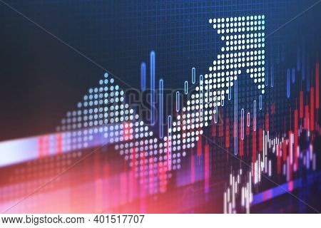 Digital Arrow And Financial Graphs Over Blurry Blue Background. Concept Of Growth And Financial Succ
