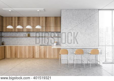 Wooden And Grey Kitchen Room With Three Beige Bar Chairs. Wooden Minimalist Kitchen Set With Stove A