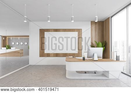 Mockup Canvas In White And Wooden Office Room With Minimalist Table And Computer, Plant In The Corne