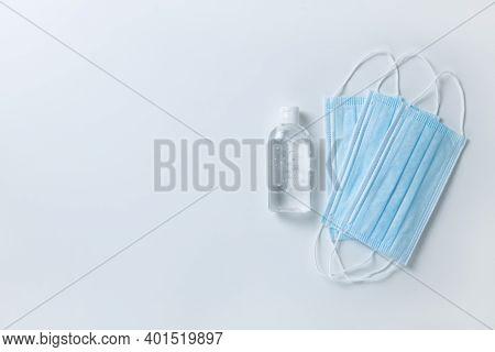 Medical Protective, Blue Face Masks, Sanitizer Gel, On White Background, Close-up, Flatly, Minimal S