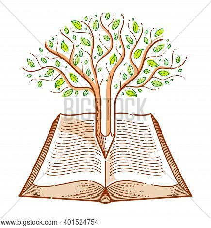 Tree Combined With Pencil Over Open Vintage Book Education Or Science Knowledge Concept, Educational