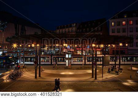 Strasbourg, France - Jan 1, 2020: Aerial View Of Few Pedestrians Walking On Place De Lhomme De Fer I