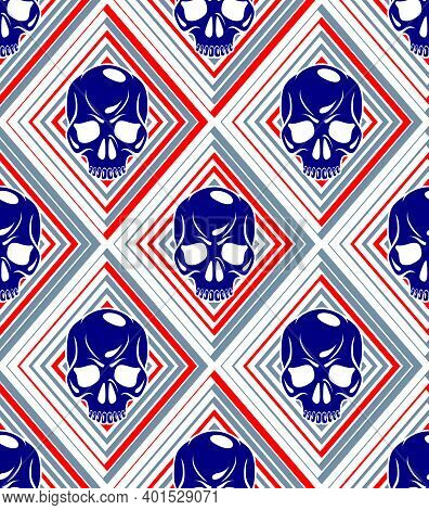 Skulls Seamless Pattern, Vector Background With Crazy Sculls For Hard Rock And Rock N Roll Subcultur