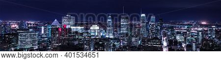Montreal Panorama Skyline At Night. Office Buildings And Skysrcapers Of Canadian City. Amazing Panor