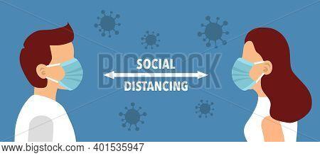 Social Distancing Concept Vector Illustration. Man And Woman Wearing Medical Masks And Keeping Away