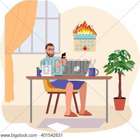 Remote Work Disadvantages. Freelancer Sitting On Desk Surfing Internet Use Smartphone Vector Flat Il