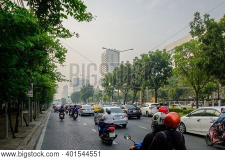 Bangkok, Thailand - January 20, 2020: Smog City From Pm 2.5 Dust. Cityscape With Bad Air Pollution,