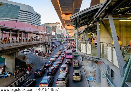 Bangkok, Thailand - February 14, 2020: Road And Traffic In Front Of Central Ladprao, Is The Shopping
