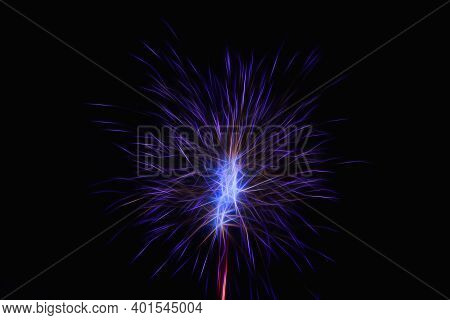 Festive New Years Fireworks. Abstract Firework Celebration On A Blue Background