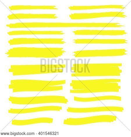 Yellow Highlight Marker Lines. Highlighter Strokes Vector. Marker Marks