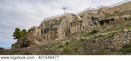 Jerusalem, Israel - December 17th, 2020: Ancient Tombs And Burial Caves Around The Tombs Of The Sons