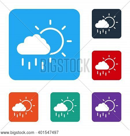 White Cloud With Rain And Sun Icon Isolated On White Background. Rain Cloud Precipitation With Rain