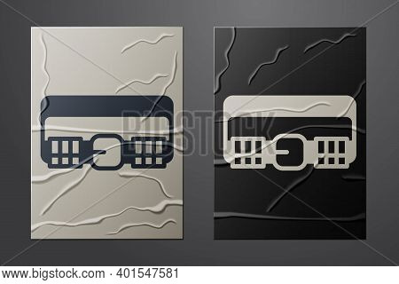 White Hunting Cartridge Belt With Cartridges Icon Isolated On Crumpled Paper Background. Bandolier S