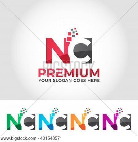 Nc Alphabet Modern Logo Design Concept Company