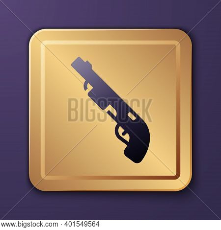Purple Police Shotgun Icon Isolated On Purple Background. Hunting Shotgun. Gold Square Button. Vecto