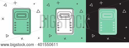 Set Police Assault Shield Icon Isolated On White And Green, Black Background. Vector