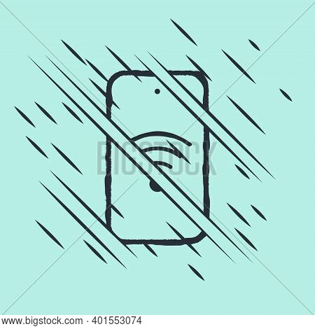 Black Smartphone With Free Wi-fi Wireless Connection Icon Isolated On Green Background. Wireless Tec